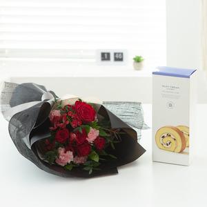레드블랙 꽃다발 + 롤케익(브랜드)