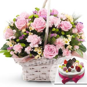 핑크 꽃바구니 + 케익