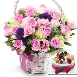 ★MD추천! 파스텔 꽃바구니+브랜드케익
