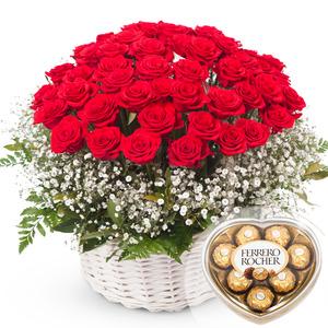 발렌타인 장미안개 1호 꽃바구니 + 페레레로쉐하트 초콜릿