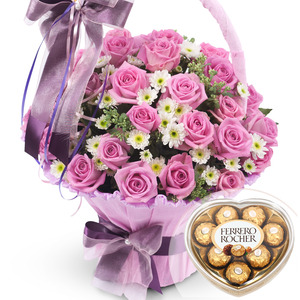 발렌타인 핑크 2호 꽃바구니 + 페레레로쉐하트 초콜릿