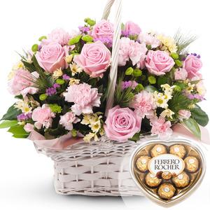발렌타인 분홍 꽃바구니 + 페레레로쉐하트 초콜릿