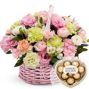 발렌타인 핑크그린 꽃바구니 + 페레레로쉐하트 초콜릿