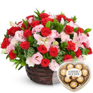 발렌타인 레드핑크꽃바구니 + 페레레로쉐하트 초콜릿