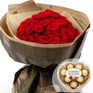 장미꽃다발 2호 + 페레레로쉐 초콜릿