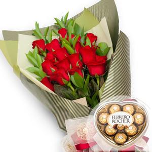 발렌타인 사랑의종소리 꽃다발 + 페레레로쉐하트 초콜릿